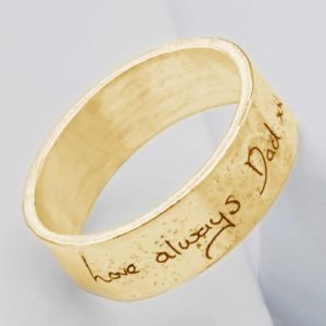 Ashes or Hair Yellow Gold Handwriting Ring