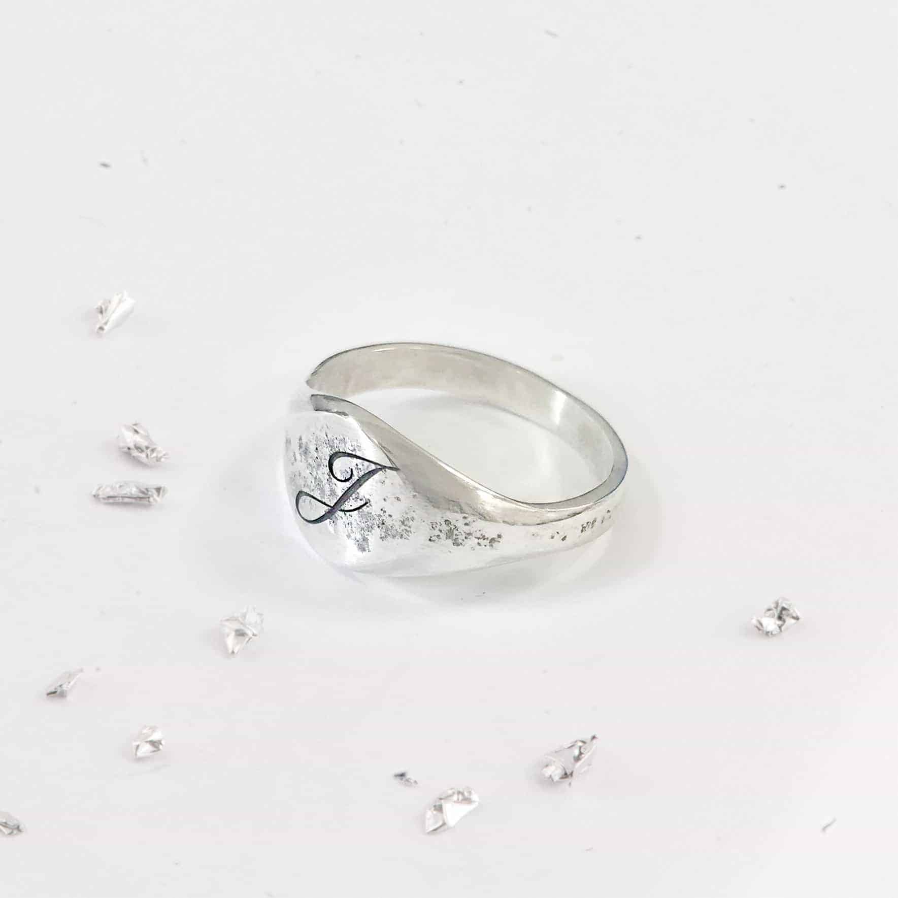 Ashes Silver Imprinted Unisex Signet Ring