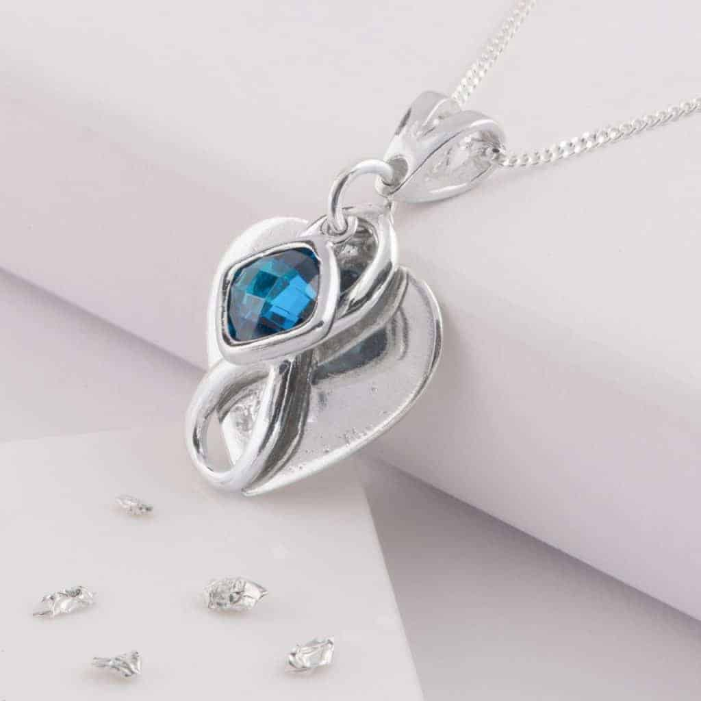 Blue Birthstone Heart Memorial Pendant