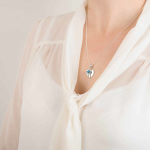 Blue Imprinted Birthstone Heart Pendant