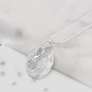 Eternal Silver Love knot Resin Memorial Oval Pendant