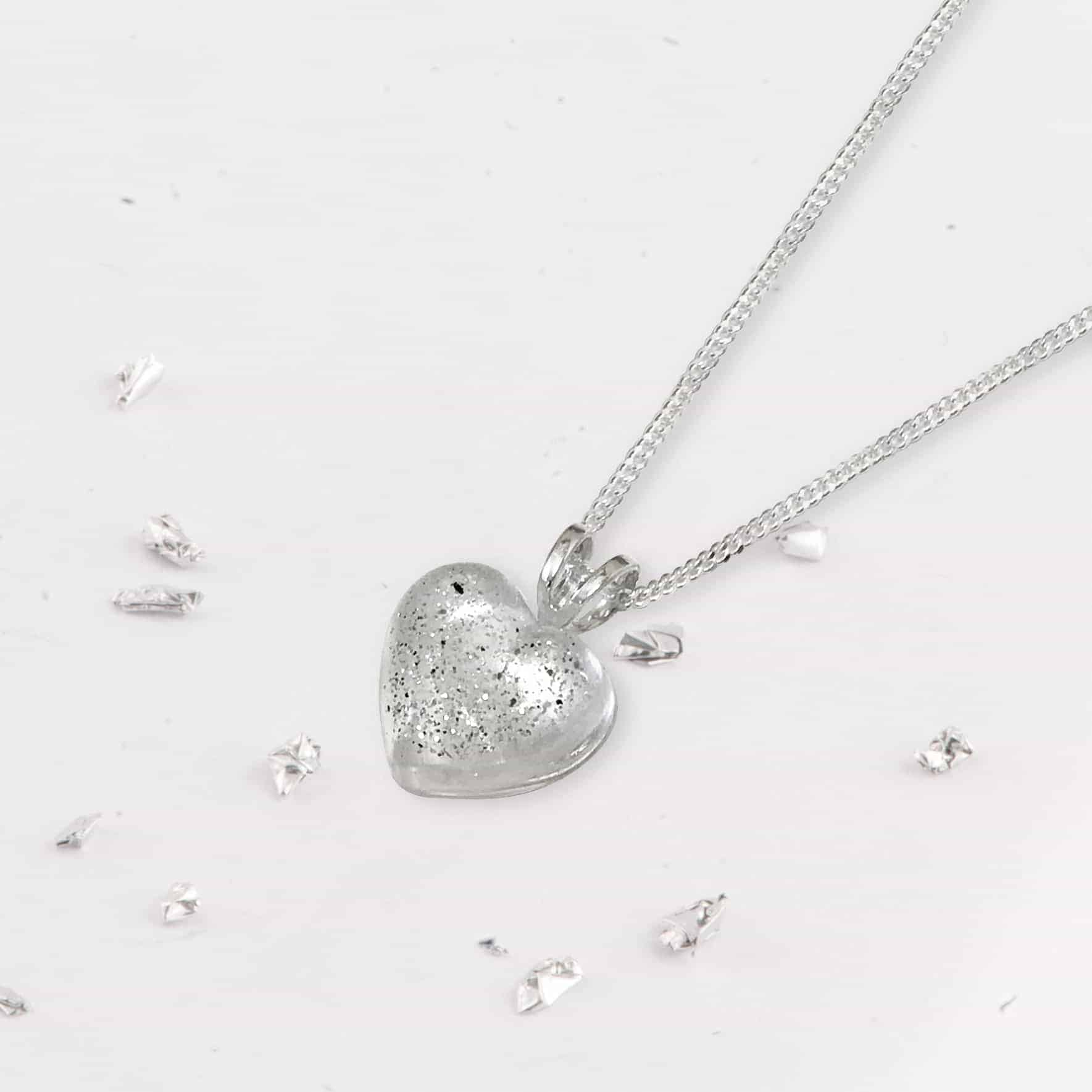 Glitter Resin Heart Memorial Necklace