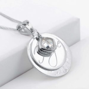 Hope Engraved Clear Birthstone Ashes Pendant