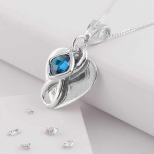 Imprinted Blue Heart Pendant