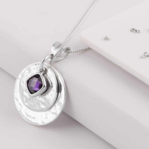 Imprinted Purple Birthstone Silver Pendant