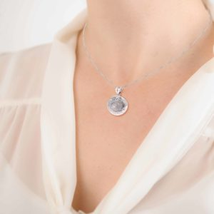 Imprinted Resin Gem Silver Pendant