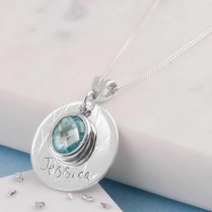 Laser Engraved Light Blue Birthstone Pendant