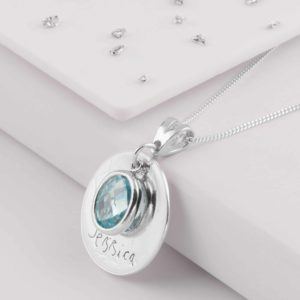 Light Blue Laser Engraved Birthstone Pendant