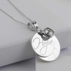 Memorial Hope Silver Engraved Birthstone Pendant