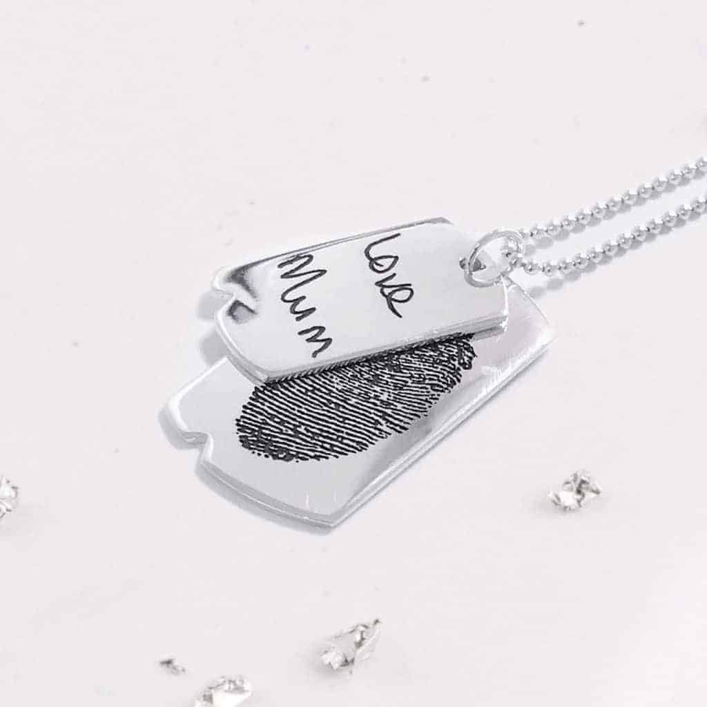 Silver Double Dog Tag Necklace And Chain