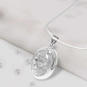 Sterling Silver Oval Inlaid Memorial Locket