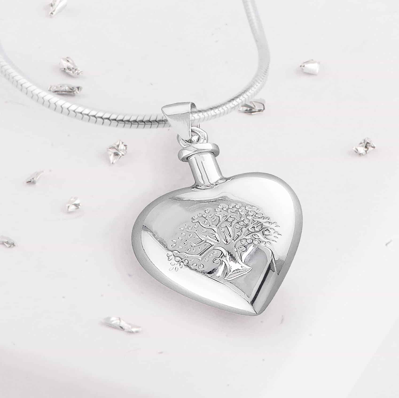 Tree Of Life Heart Shaped Urn Necklace Front