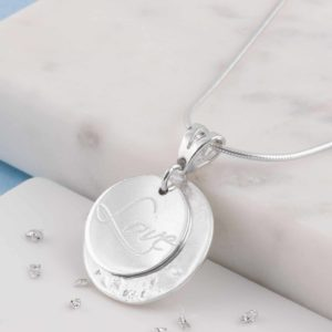 White Gold Love Imprinted Pendant