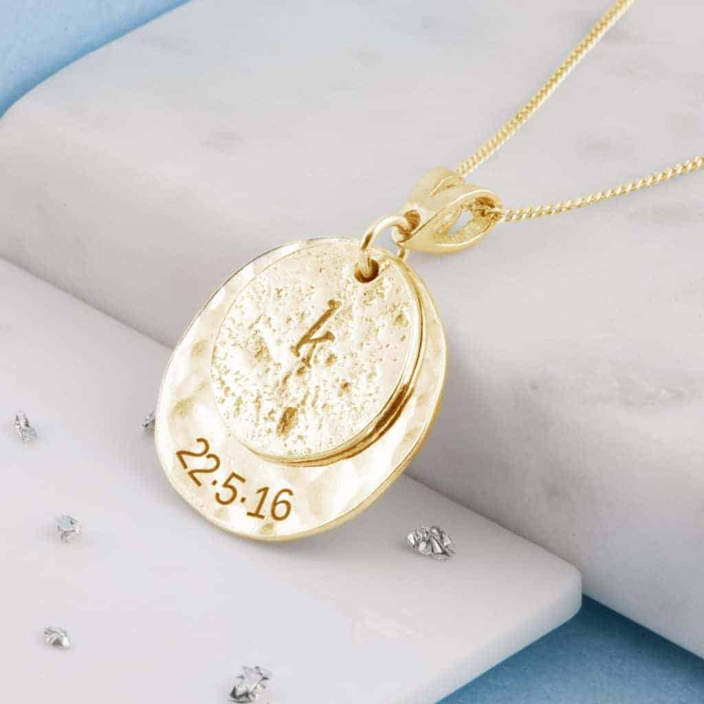Yellow Gold Imprinted Love Pendant