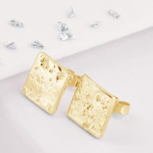 Planished square gold cufflinks