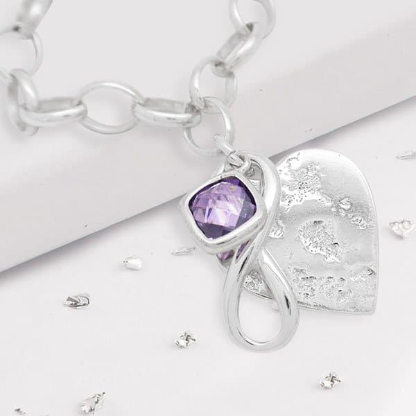 Bespoke Rolled Ashes Heart Bracelet with Infinity Knot and Purple Gem