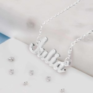 Ashes or Hair Imprinted Silver Name Necklace