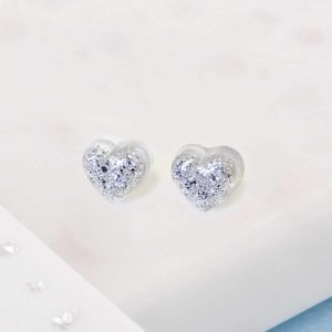 Ashes or Hair Small Resin Heart Earrings