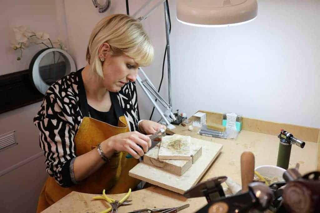 Julia crafting memorial jewellery