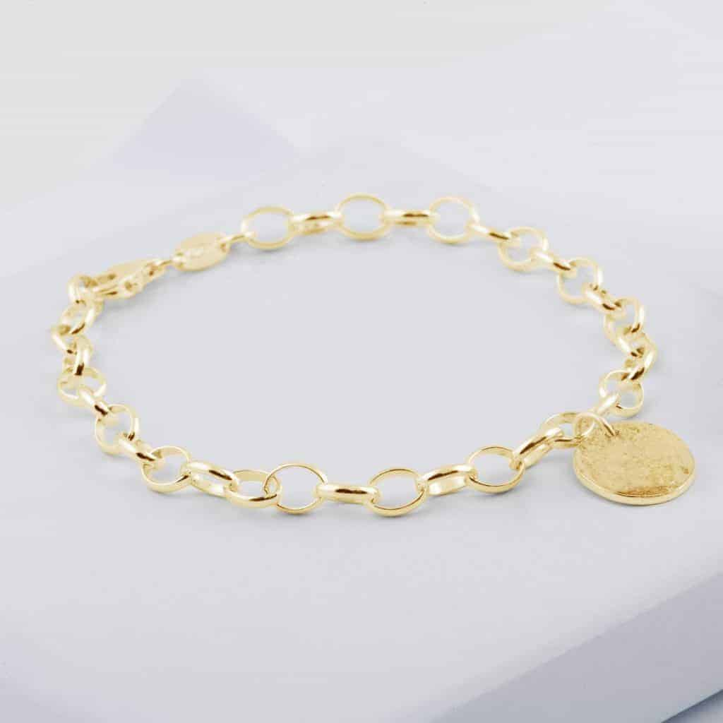 Gold Memorial Disc Chain Bracelet