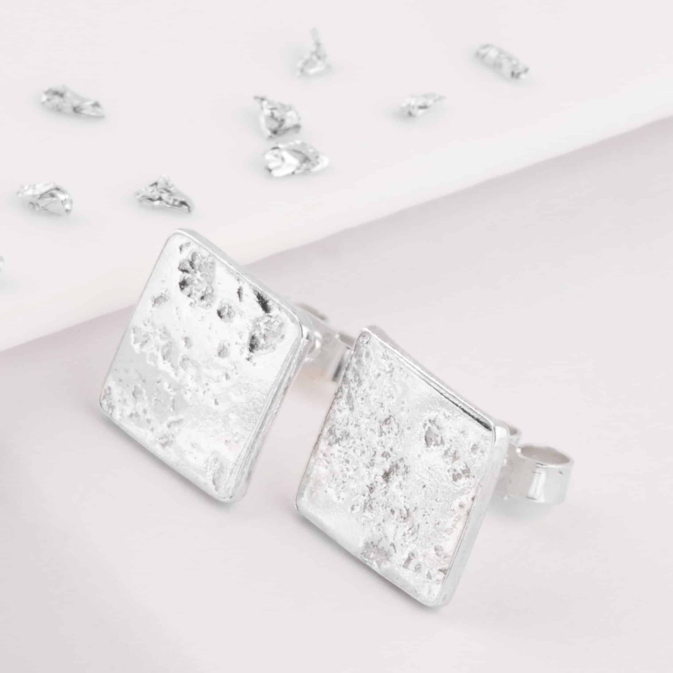 Imprinted Ashes or Hair Square Stud Earrings