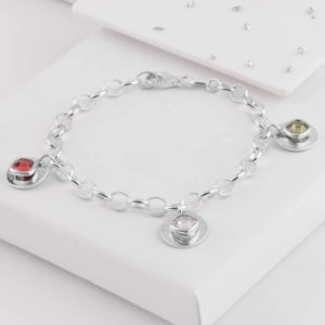 Memorial Birthstone Triple Disc Bracelet