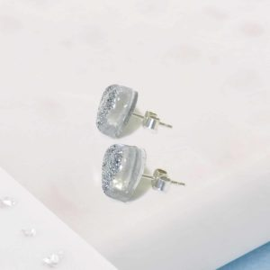 Silver Resin Heart Stud Earrings