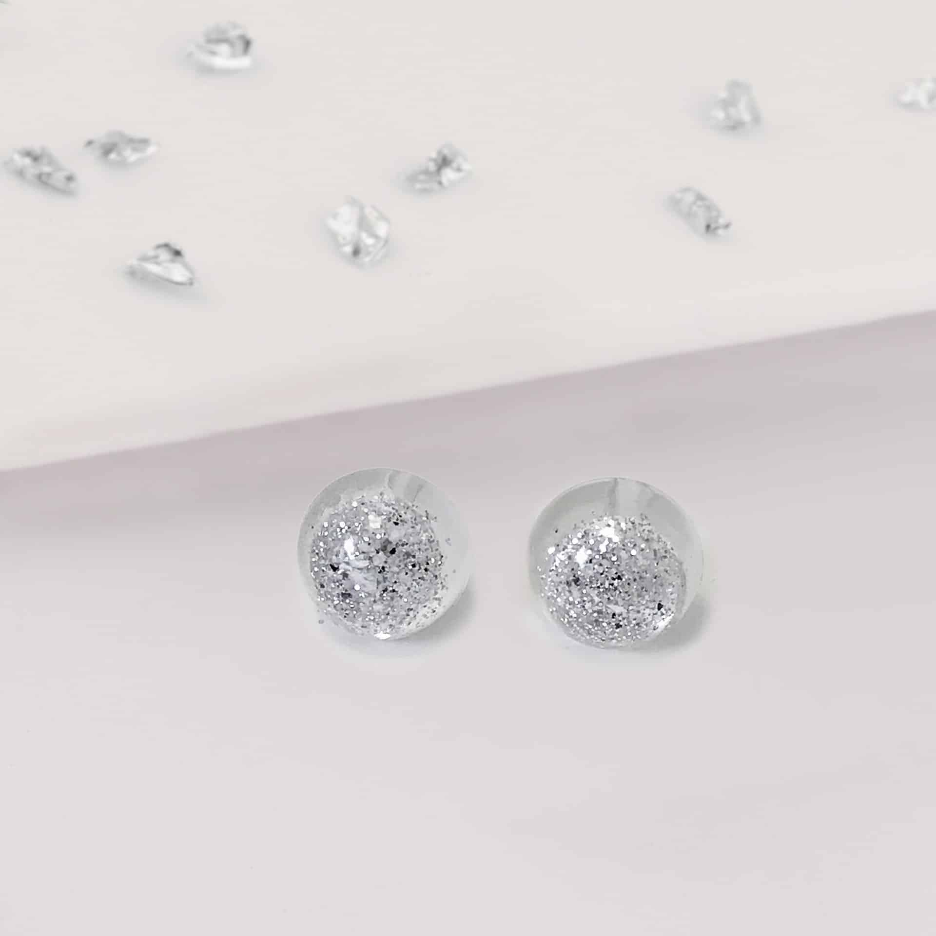 Silver Resin Round Stud Earrings