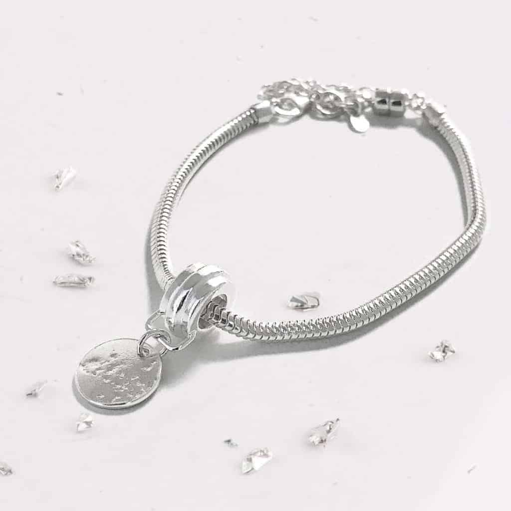 Sterling Silver Imprinted Charm Memorial Bracelet