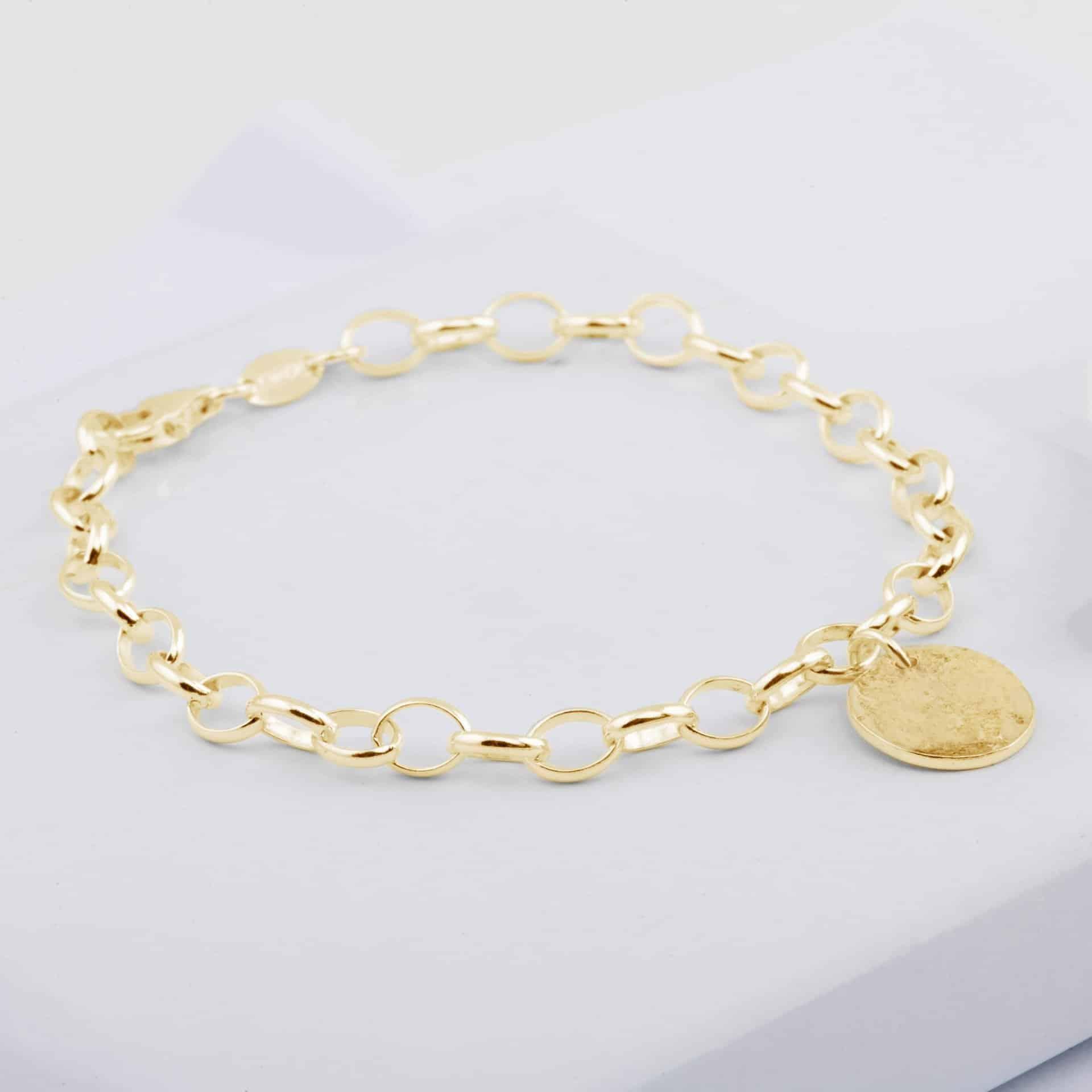 Gold Memorial Disc Chain Bracelet