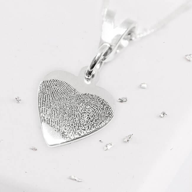 Fingerprint Engraved Silver Heart Pendant