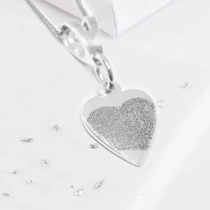 Fingerprint Engraved Silver Heart Pendant