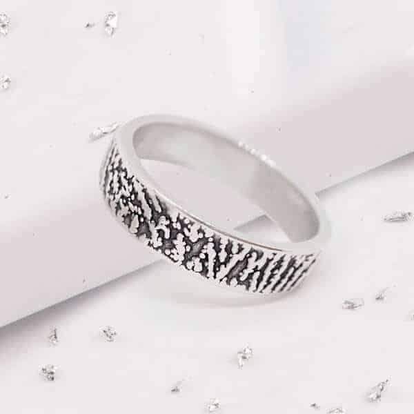 fingerprint band ring silver main view