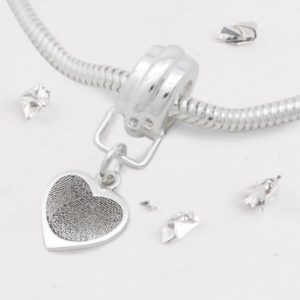 Snake Chain Charm Bracelet with FIngerprint Heart Charm