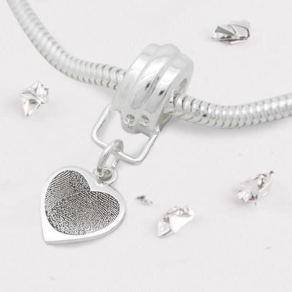 Snake Chain Charm Bracelet with FIngerprint Heart Charm