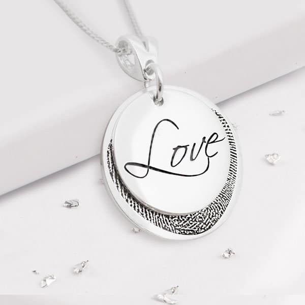 Silver Layered Disc Necklace with Fingerprint Pattern and Love Engraving