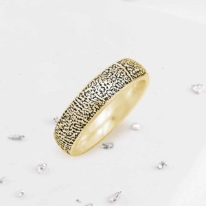 Gold Fingerprint Court Ring