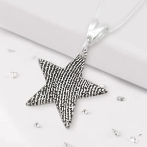 Silver Star Pendant on chain with fingerprint design