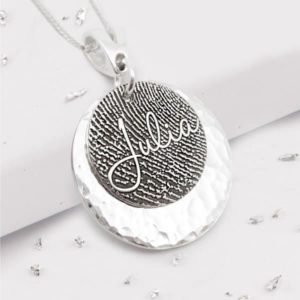 Fingerprint engraved silver disc necklace with engraved name and plan silver disc backing