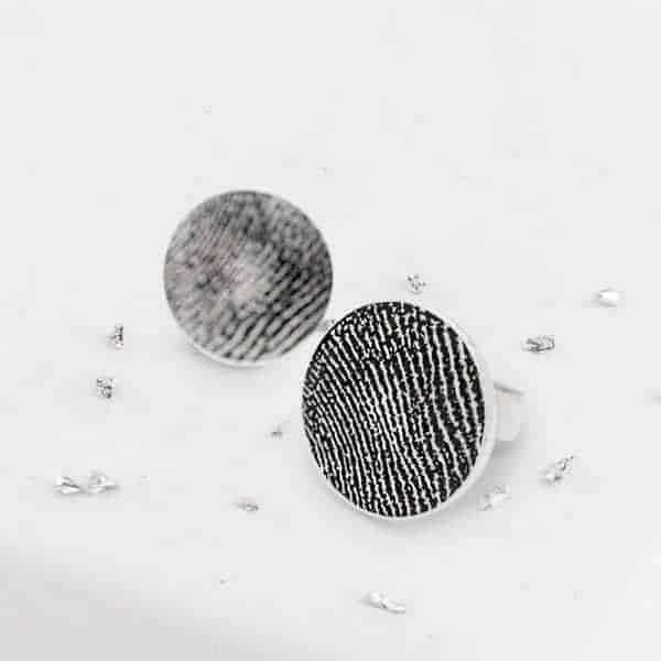 Round Silver Fingerprint Studs