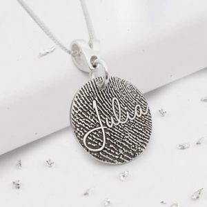 Fingerprint engraved silver disc necklace with engraved name