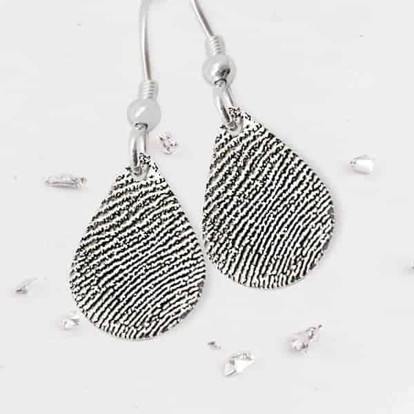 Teardrop Silver Fingerprint Earrings on Hooks