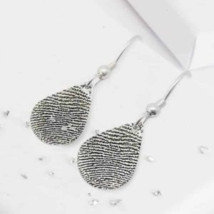 Teardrop Silver Fingerprint Earrings on Hooks