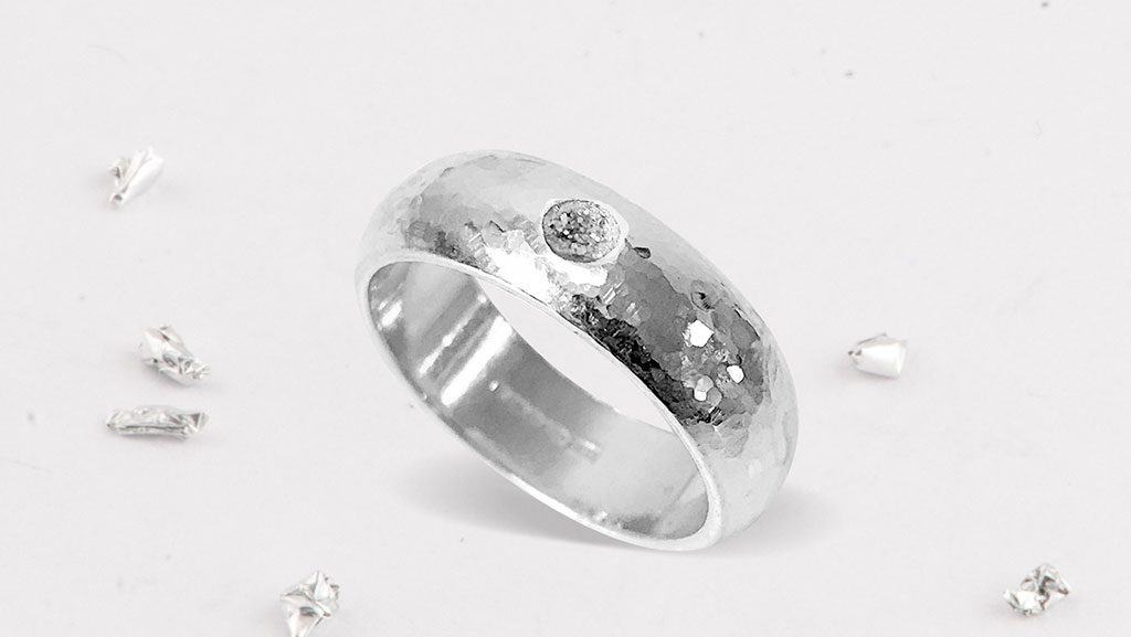 Silver Memorial Ring with Resin Gem