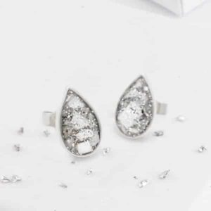 Resin and Glitter Teardrop Silver Earrings