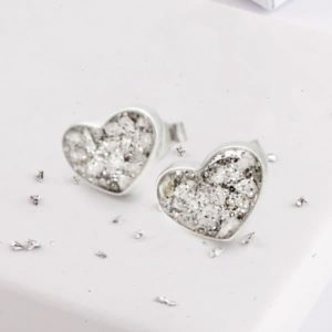 Resin and Glitter Heart Silver Earrings