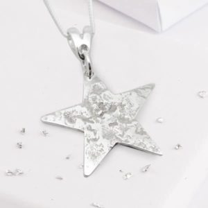 Sterling Silver Rolled Ashes Star Pendant