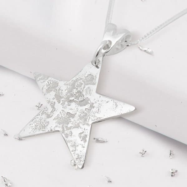 Sterling Silver Rolled Ashes Star Pendant Side Angle