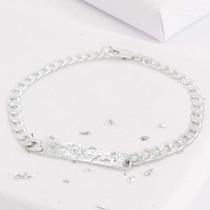 Thick Sterling Silver Chain Bracelet with Imprinted Ashes