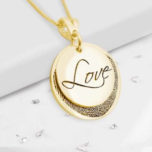 Gold Layered Fingerprint Round Love Pendant Close Up